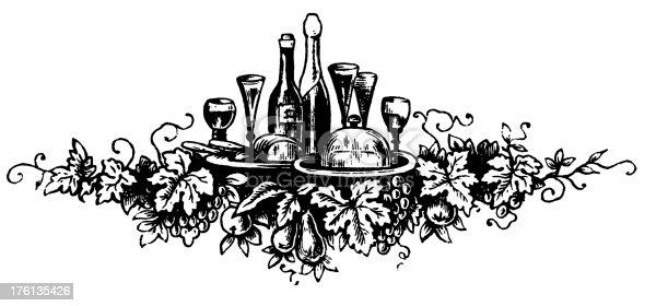 Wine Decorative Ornament Antique Food Illustrations Stock