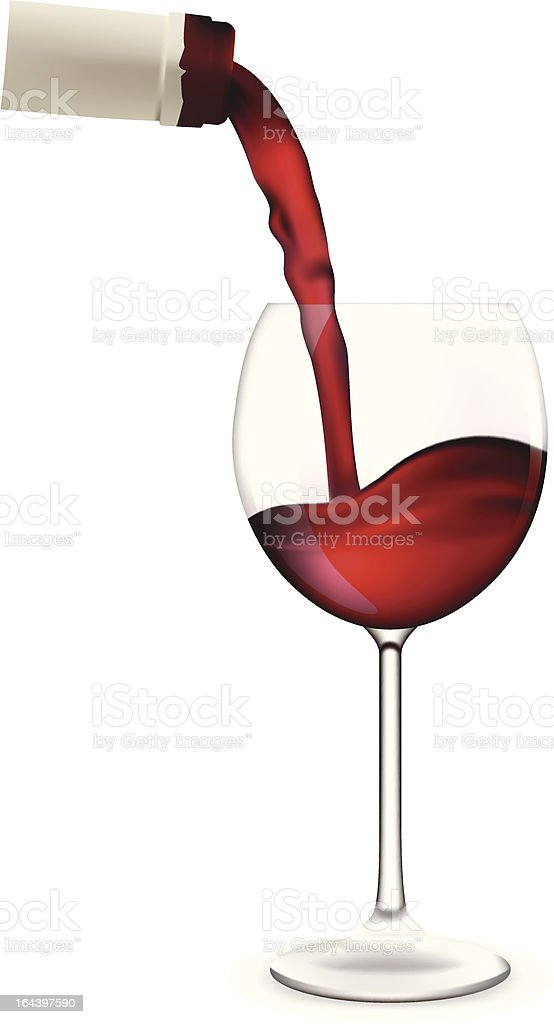 Wine pouring into glass. vector art illustration