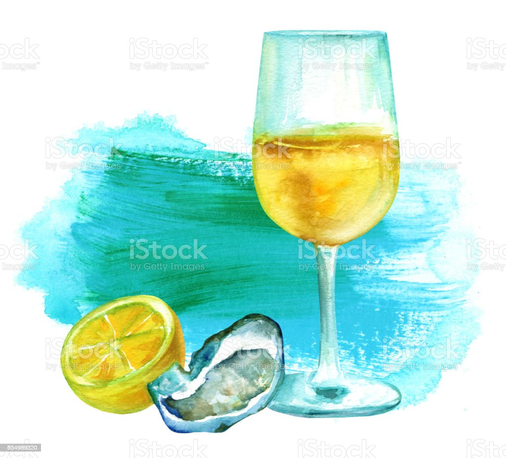 Wine with oyster and lemon on vibrantl texture vector art illustration