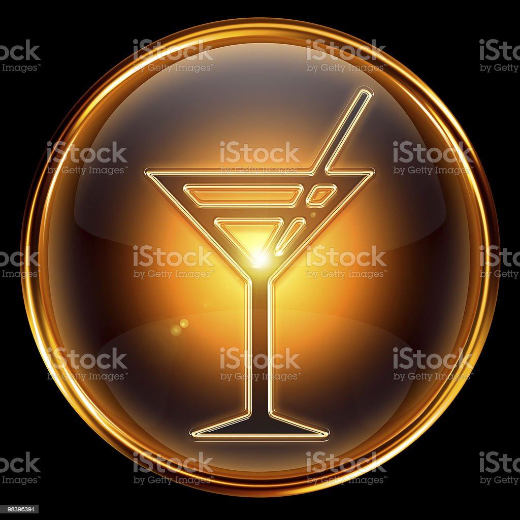 wineglass icon golden, isolated on black background. royalty-free wineglass icon golden isolated on black background stock vector art & more images of alcohol