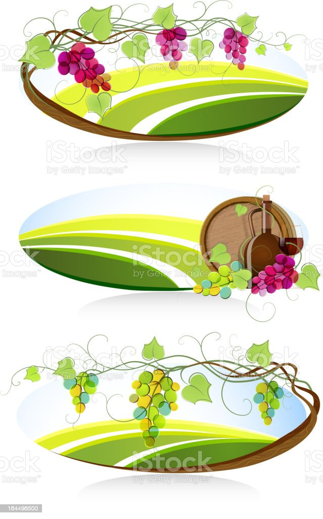 Winemaking emblems vector art illustration