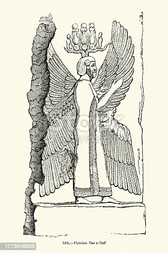 Vintage illustration of Winged figure from ancient Persian Bas-relief