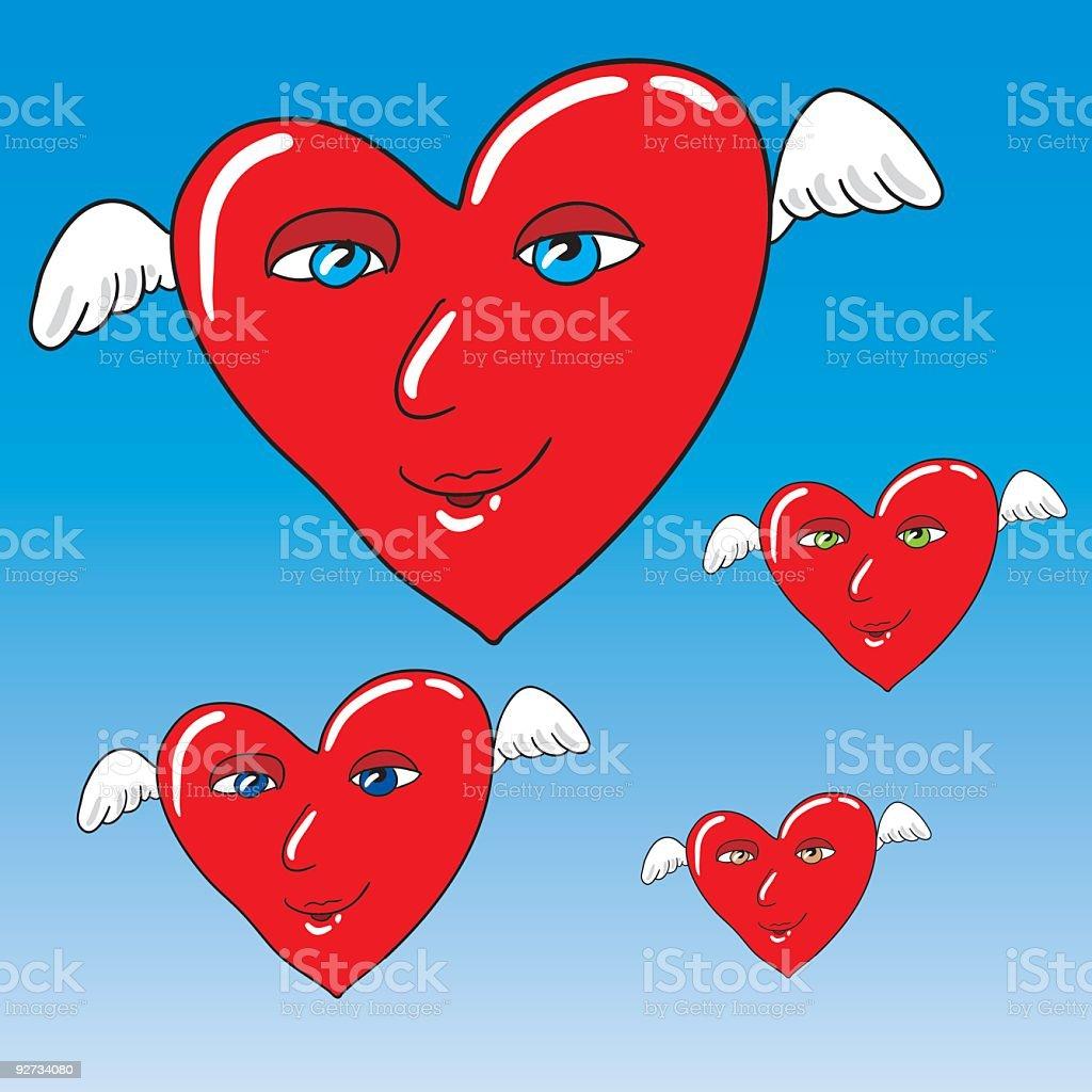 winged harts royalty-free stock vector art