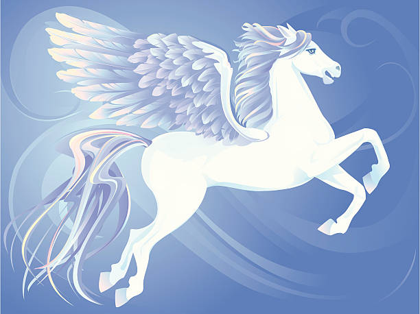 winged horse - pegasus stock illustrations