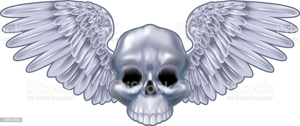Winged metallic skull motif royalty free winged metallic skull motif stockvectorkunst en meer beelden van clipart