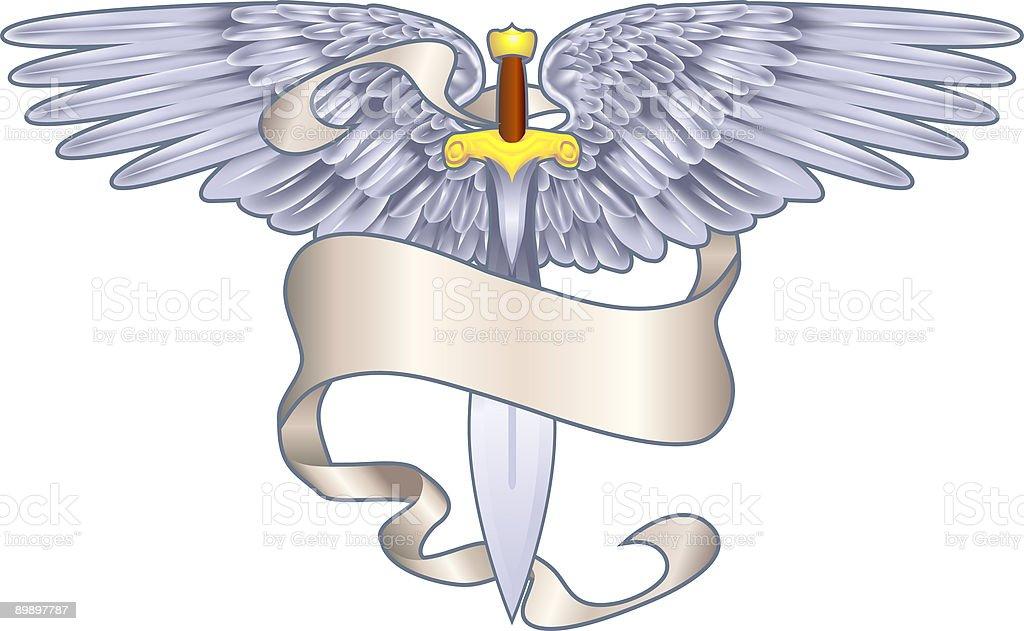 Alas espada heraldic elemento ilustración de alas espada heraldic elemento y más banco de imágenes de abstracto libre de derechos