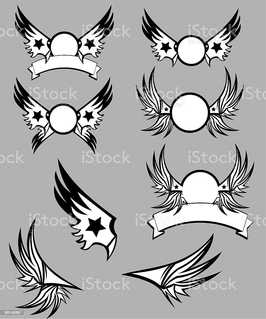Wings and banners royalty-free stock vector art