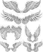 """""""Set of 6 wings, angel wings, design elements."""""""