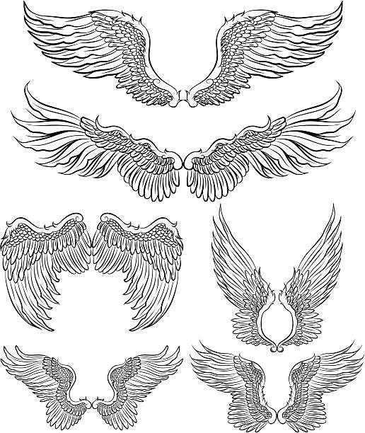 ilustraciones, imágenes clip art, dibujos animados e iconos de stock de wings - tatuajes de ángeles