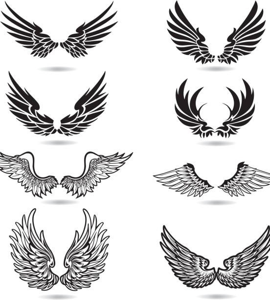 wings illustrationen - vogel tattoos stock-grafiken, -clipart, -cartoons und -symbole