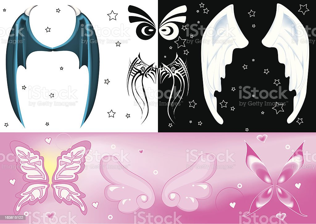 Wings set royalty-free stock vector art