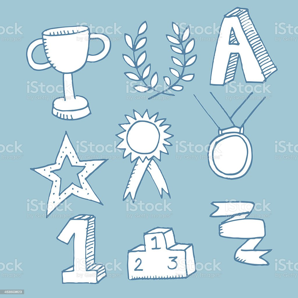 Winning medal icons royalty-free stock vector art