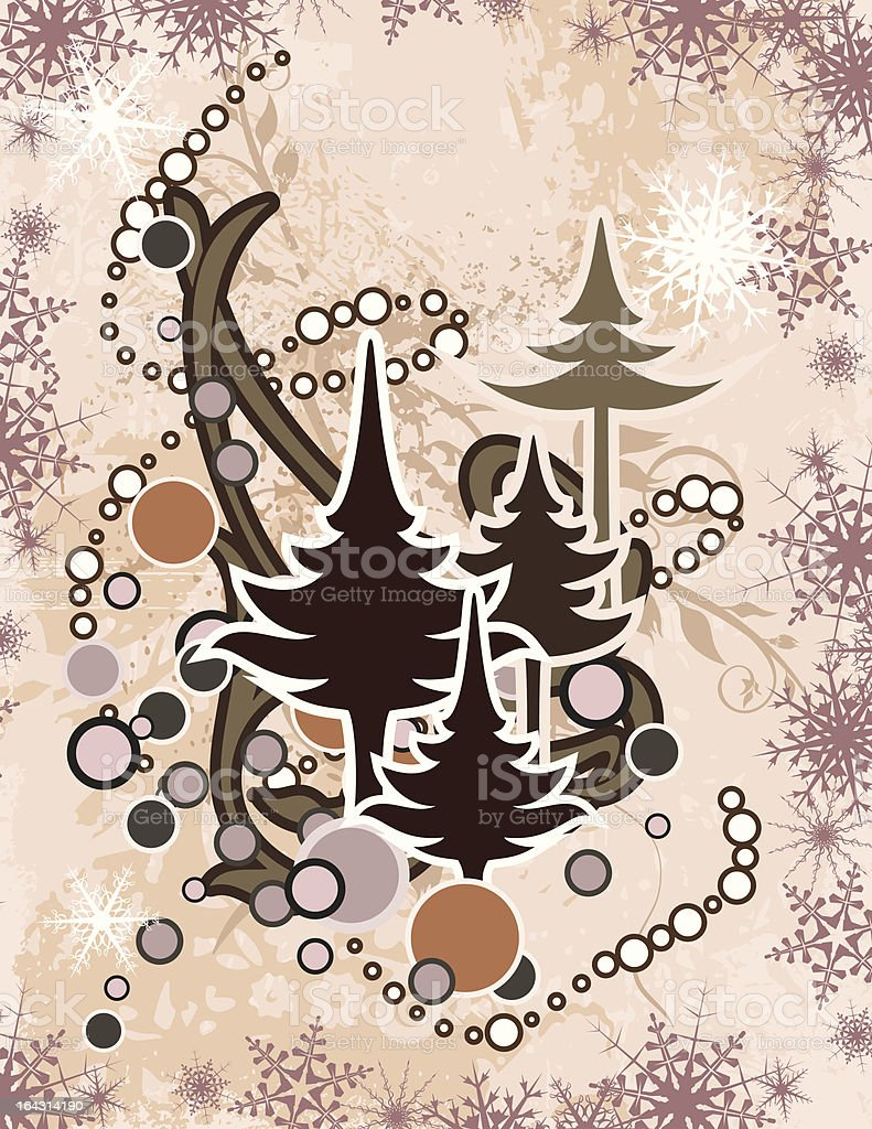 Winter Background with Pine Trees royalty-free stock vector art