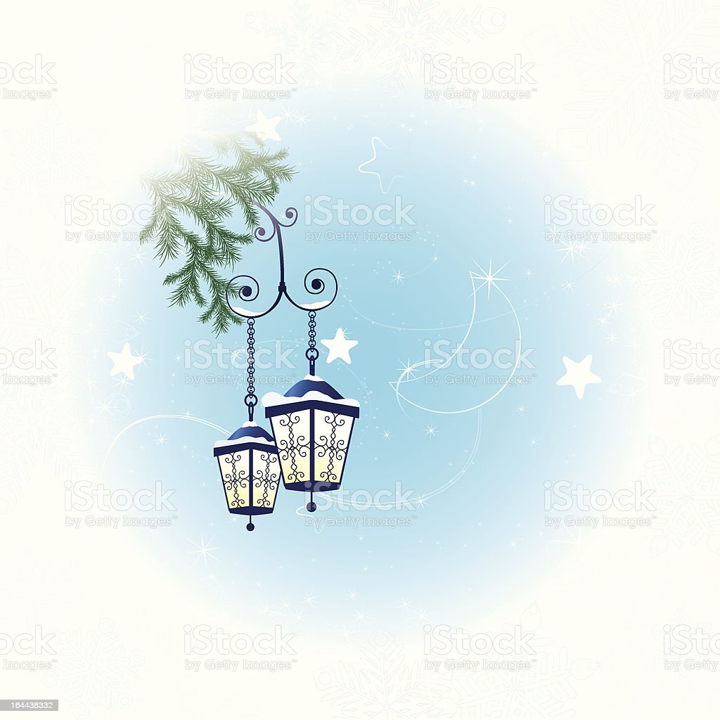 Winter background with two lanterns and spruce branch royalty-free stock vector art