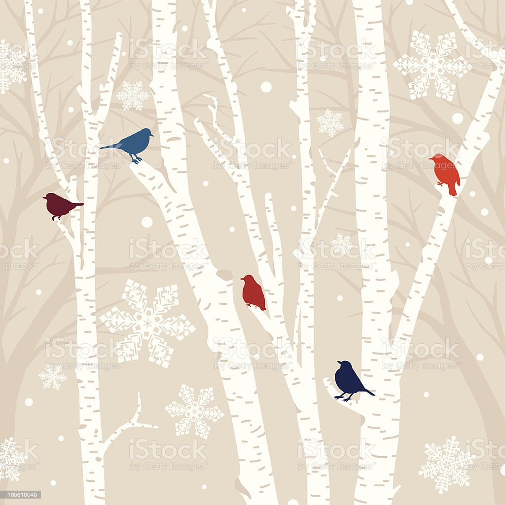 Winter Birds Background vector art illustration