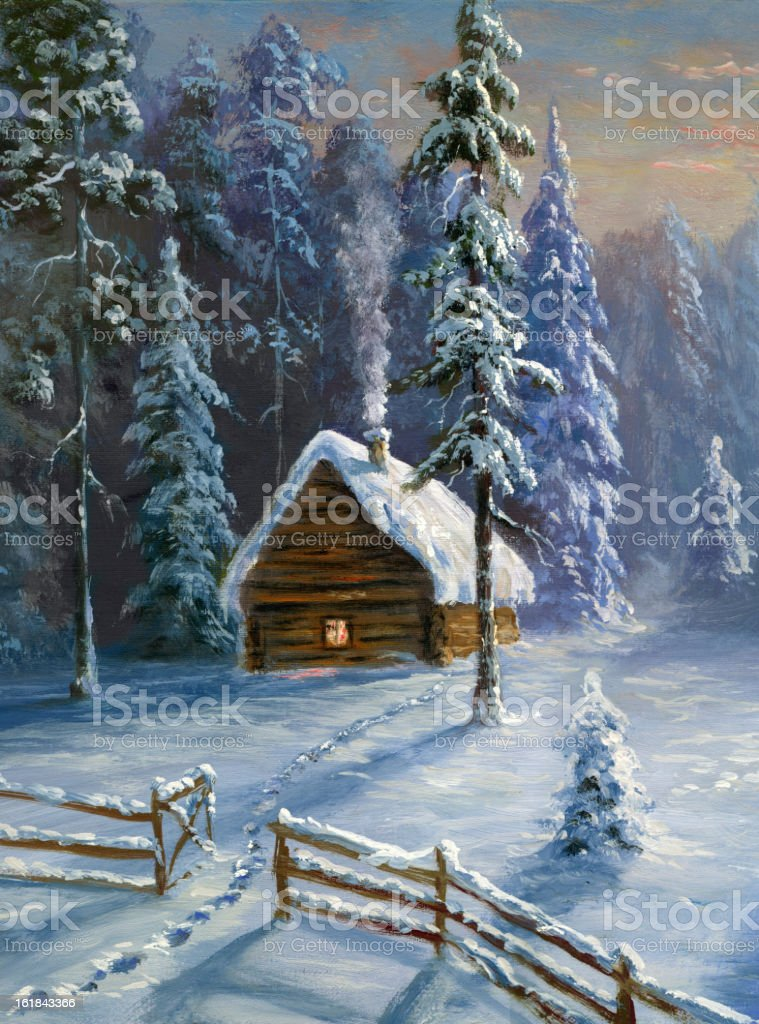 Winter cabin royalty-free winter cabin stock vector art & more images of art and craft