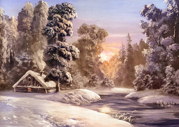 stockillustraties, clipart, cartoons en iconen met winter calm - christmas cabin