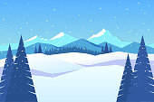 Winter card template with mountain landscape in minimalist style. Illustration hand drawn in Inkscape and imported as .JPG with Photoshop.