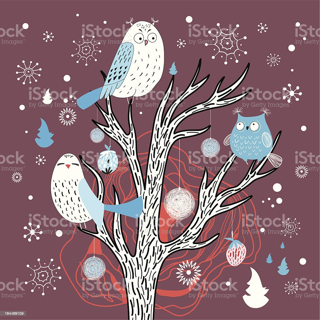 Winter card with owls on the tree royalty-free winter card with owls on the tree stock vector art & more images of animal