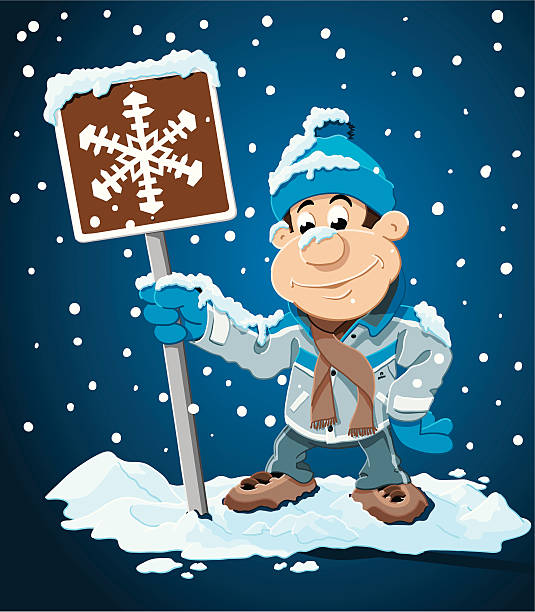 "Winter Cartoon Man Snowing Sign ""Vector Illustration of a cartoon man, who is holding a snow road sign. The background and the snowfall is on a separate layer, so you can use the illustration on your own background. The colors in the .eps-file are ready for print (CMYK). Included files: EPS (v8) and Hi-Res JPG."" cartoon people sign stock illustrations"