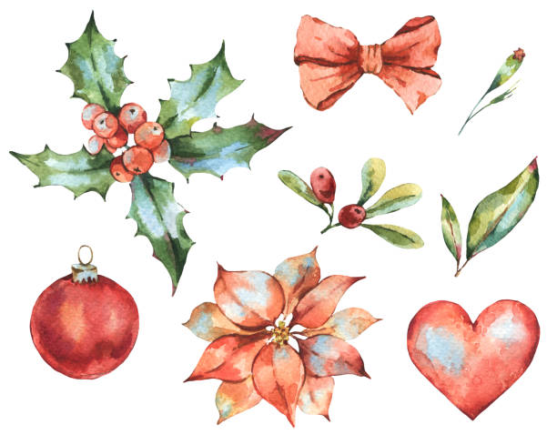 3de6e5c38 Winter Christmas watercolor set of New Year decoration, red heart, holly,  berries,