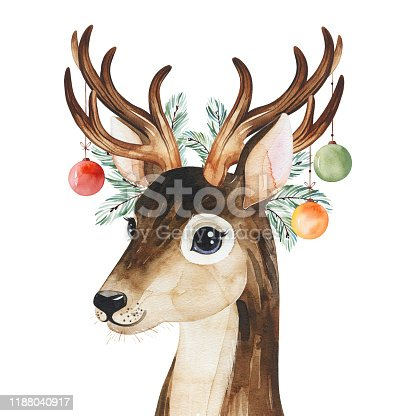 Winter composition with conifer branches,toys and cute deer.
