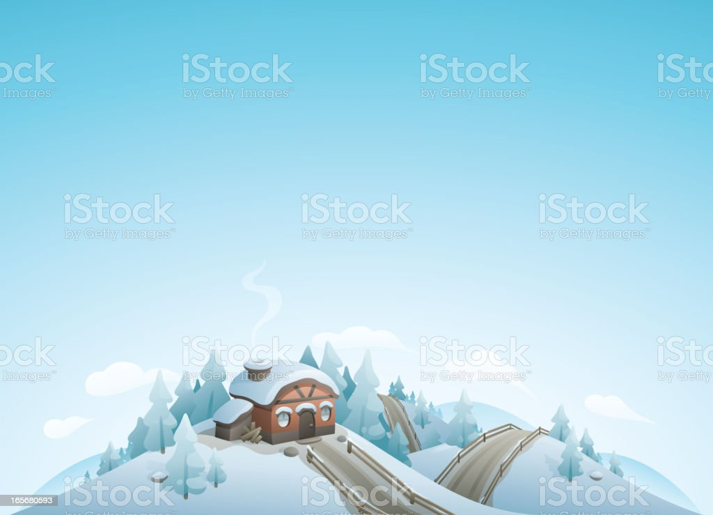 Winter Cottage Landscape royalty-free stock vector art