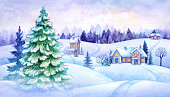 winter countryside view, Christmas fir trees, fairy tale village, snowy forest, rural landscape panorama, vintage greeting card, watercolor illustration