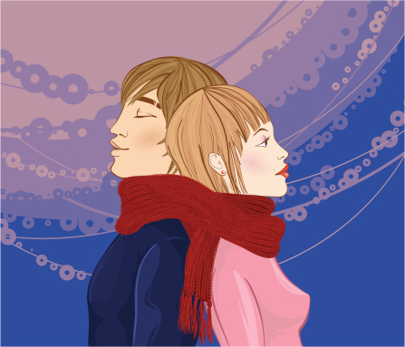 Winter Couple Stock Illustration - Download Image Now