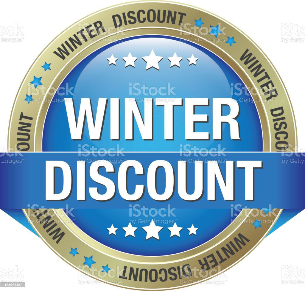 winter discount blue gold button royalty-free stock vector art