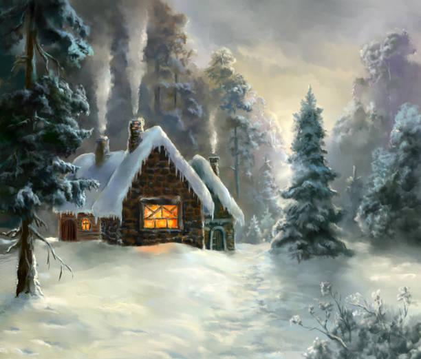 winter elf village vector art illustration