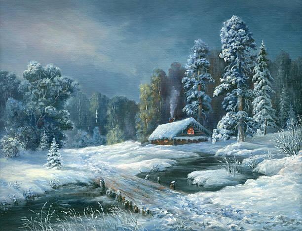 stockillustraties, clipart, cartoons en iconen met winter fairy tale night - christmas cabin