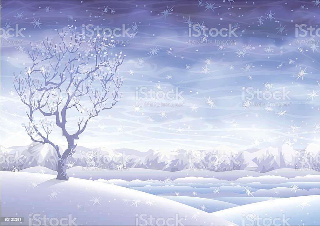 Winter fairy-tale tree over rolling landscape royalty-free stock vector art