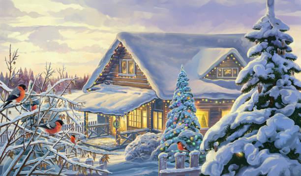 Winter festive landscape with bullfinches. vector art illustration