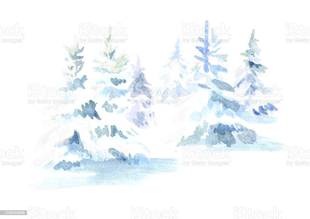 Tannenbaum Mit Schneefall.Winterwald Weihnachten Tannenbaum Mit Schnee Aquarell
