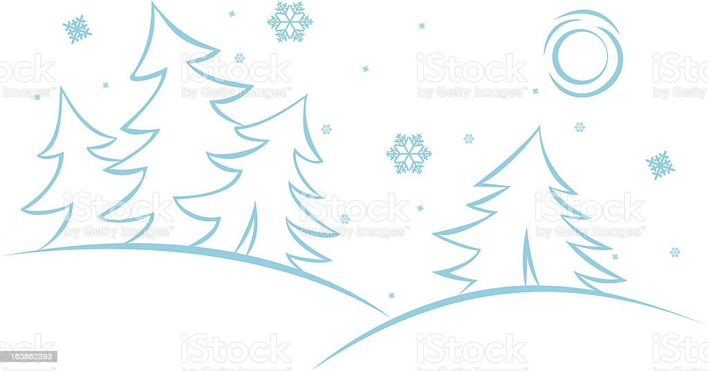 winter forest royalty-free stock vector art