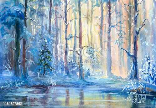 winter rural landscape, painting