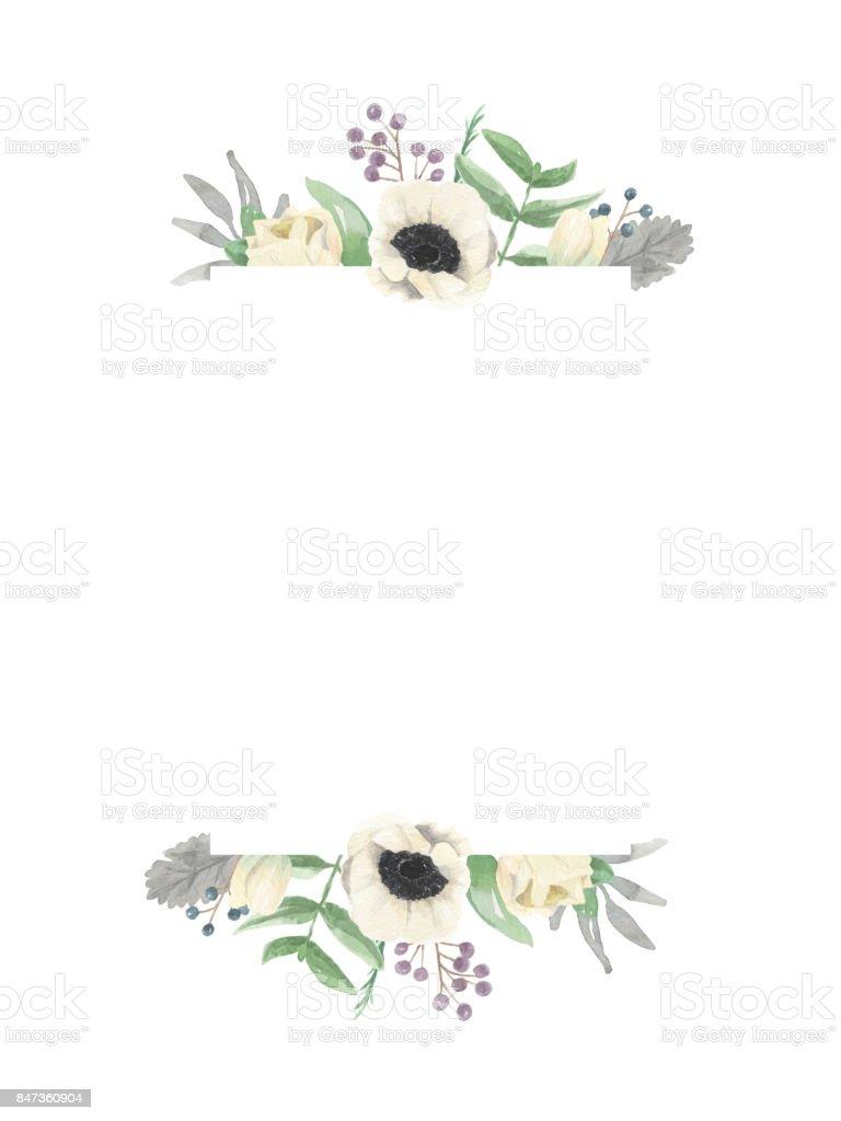 Winter Frame Watercolour Flower Border Royalty Free Stock Vector Art