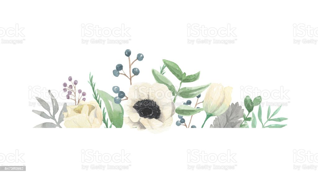 Winter Frame Watercolour Flower Christmas Border Royalty Free Stock
