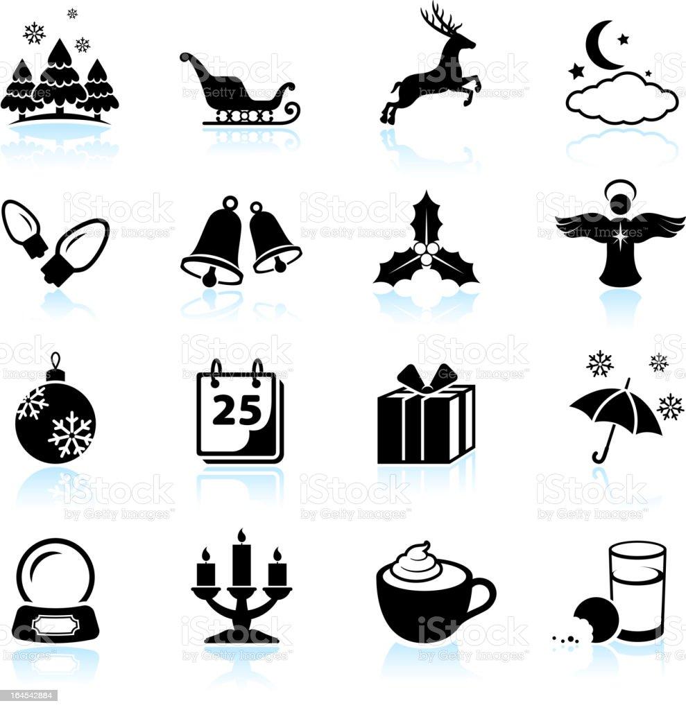 Winter Holiday Schwarz Und Weiss Lizenzfreie Vektor Icon Set Lizenzfreies Illustration