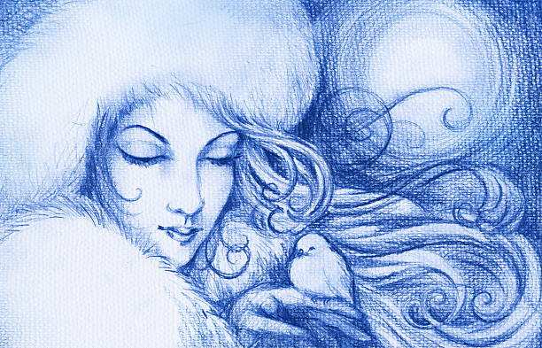 Winter The young woman symbolizes winter ,holding in hand small bird.Picture I have created with blue pencil. formal glove stock illustrations