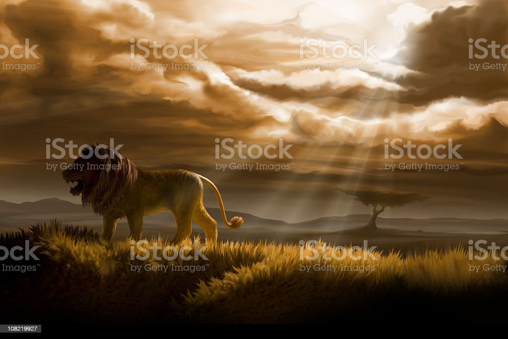 winter in lion's pride royalty-free stock vector art