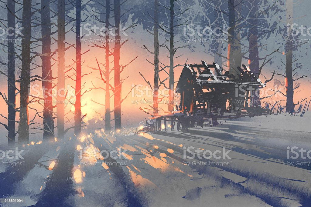 winter landscape of an abandoned house in the forest vector art illustration