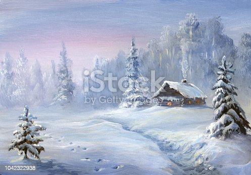 istock winter landscape, oil painting 1042322938