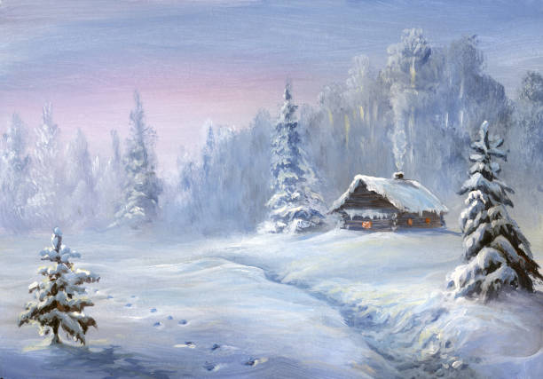 winter landscape, oil painting winter landscape, only my artwork, oil painting cottage stock illustrations