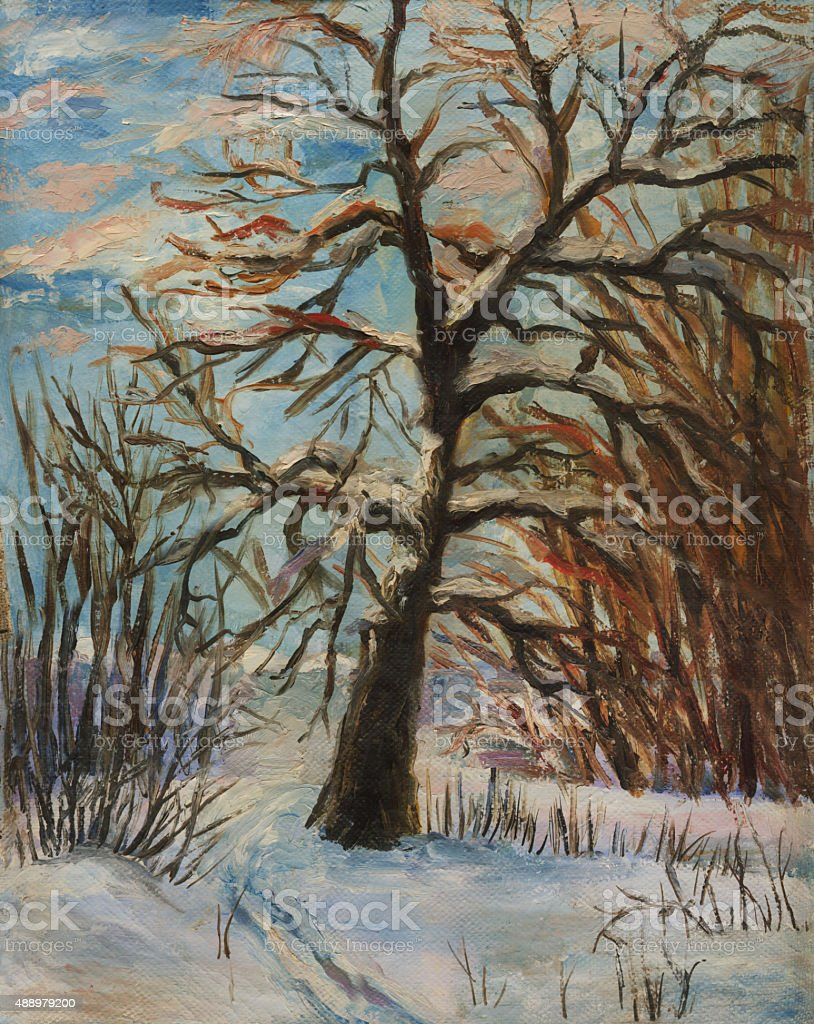 winter landscape. Oil painting vector art illustration