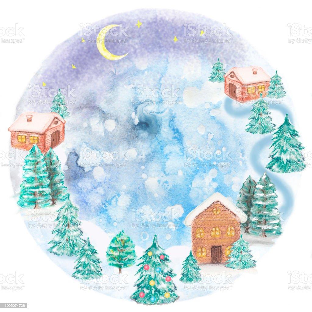 Winterlandschaft Mit Einem Häuser Und Tannen Aquarell Und Pastell