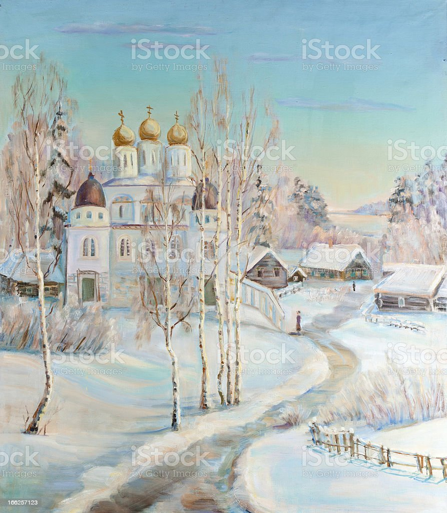 Winter landscape with a temple royalty-free stock vector art