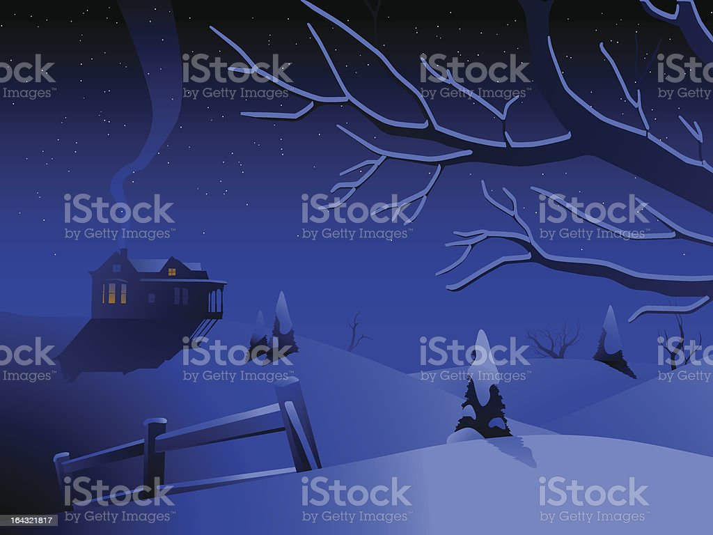 Winter landscape with house royalty-free stock vector art