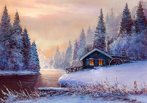 Winter landscape with river and water Mill. Oil painting .